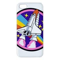 Badge Patch Pink Rainbow Rocket Apple Iphone 5 Premium Hardshell Case by Amaryn4rt