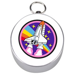 Badge Patch Pink Rainbow Rocket Silver Compasses by Amaryn4rt