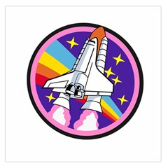 Badge Patch Pink Rainbow Rocket Large Satin Scarf (square) by Amaryn4rt