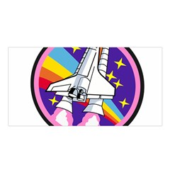Badge Patch Pink Rainbow Rocket Satin Shawl by Amaryn4rt