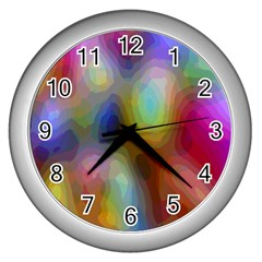 A Mix Of Colors In An Abstract Blend For A Background Wall Clocks (silver)  by Amaryn4rt