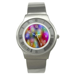 A Mix Of Colors In An Abstract Blend For A Background Stainless Steel Watch by Amaryn4rt