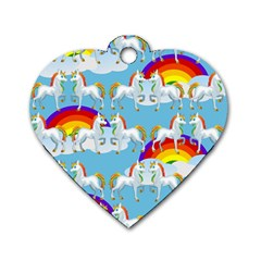 Rainbow Pony  Dog Tag Heart (one Side) by Valentinaart
