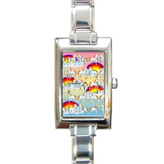 Rainbow Pony  Rectangle Italian Charm Watch by Valentinaart