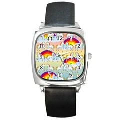 Rainbow Pony  Square Metal Watch by Valentinaart