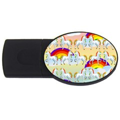Rainbow Pony  Usb Flash Drive Oval (4 Gb) by Valentinaart