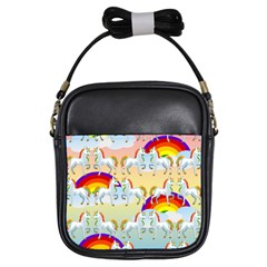 Rainbow Pony  Girls Sling Bags by Valentinaart