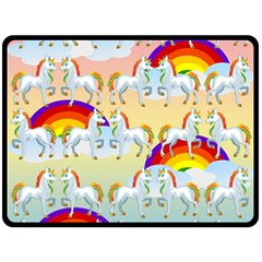 Rainbow Pony  Fleece Blanket (large)  by Valentinaart