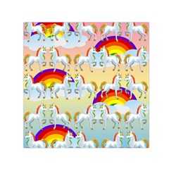 Rainbow Pony  Small Satin Scarf (square) by Valentinaart