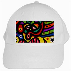 A Seamless Crazy Face Doodle Pattern White Cap by Amaryn4rt