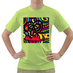 A Seamless Crazy Face Doodle Pattern Green T Shirt