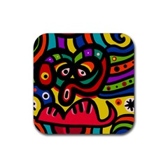 A Seamless Crazy Face Doodle Pattern Rubber Square Coaster (4 Pack)  by Amaryn4rt
