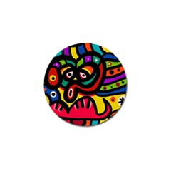A Seamless Crazy Face Doodle Pattern Golf Ball Marker (10 Pack) by Amaryn4rt