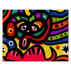 A Seamless Crazy Face Doodle Pattern Rectangular Jigsaw Puzzl by Amaryn4rt