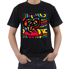 A Seamless Crazy Face Doodle Pattern Men s T Shirt (black) (two Sided) by Amaryn4rt