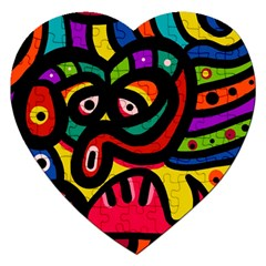 A Seamless Crazy Face Doodle Pattern Jigsaw Puzzle (heart) by Amaryn4rt