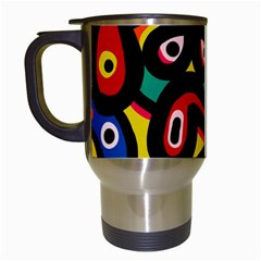 A Seamless Crazy Face Doodle Pattern Travel Mugs (white) by Amaryn4rt