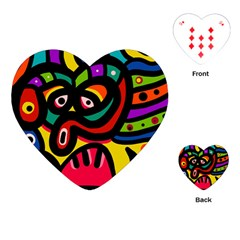 A Seamless Crazy Face Doodle Pattern Playing Cards (heart)  by Amaryn4rt