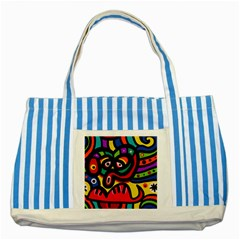 A Seamless Crazy Face Doodle Pattern Striped Blue Tote Bag by Amaryn4rt
