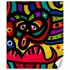 A Seamless Crazy Face Doodle Pattern Canvas 8  X 10  by Amaryn4rt