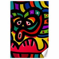 A Seamless Crazy Face Doodle Pattern Canvas 24  X 36  by Amaryn4rt