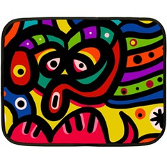 A Seamless Crazy Face Doodle Pattern Double Sided Fleece Blanket (mini)  by Amaryn4rt