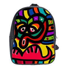 A Seamless Crazy Face Doodle Pattern School Bags(large)  by Amaryn4rt