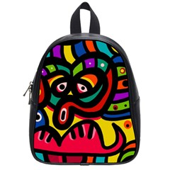 A Seamless Crazy Face Doodle Pattern School Bags (small)  by Amaryn4rt