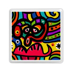 A Seamless Crazy Face Doodle Pattern Memory Card Reader (square)  by Amaryn4rt