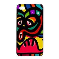 A Seamless Crazy Face Doodle Pattern Apple Iphone 4/4s Seamless Case (black) by Amaryn4rt