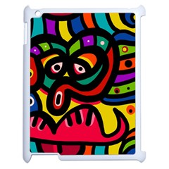 A Seamless Crazy Face Doodle Pattern Apple Ipad 2 Case (white) by Amaryn4rt