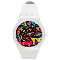 A Seamless Crazy Face Doodle Pattern Round Plastic Sport Watch (m) by Amaryn4rt