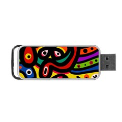 A Seamless Crazy Face Doodle Pattern Portable Usb Flash (two Sides) by Amaryn4rt