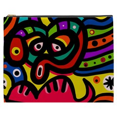 A Seamless Crazy Face Doodle Pattern Cosmetic Bag (xxxl)  by Amaryn4rt
