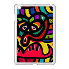 A Seamless Crazy Face Doodle Pattern Apple Ipad Mini Case (white) by Amaryn4rt