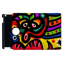 A Seamless Crazy Face Doodle Pattern Apple Ipad 2 Flip 360 Case by Amaryn4rt