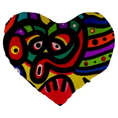 A Seamless Crazy Face Doodle Pattern Large 19  Premium Heart Shape Cushions by Amaryn4rt