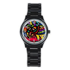 A Seamless Crazy Face Doodle Pattern Stainless Steel Round Watch by Amaryn4rt