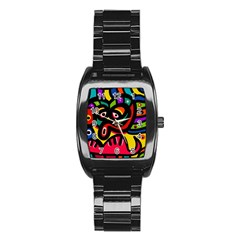 A Seamless Crazy Face Doodle Pattern Stainless Steel Barrel Watch by Amaryn4rt