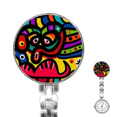 A Seamless Crazy Face Doodle Pattern Stainless Steel Nurses Watch by Amaryn4rt
