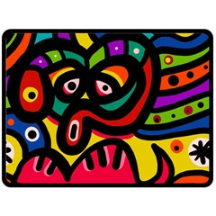 A Seamless Crazy Face Doodle Pattern Double Sided Fleece Blanket (large)  by Amaryn4rt