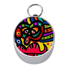 A Seamless Crazy Face Doodle Pattern Mini Silver Compasses by Amaryn4rt