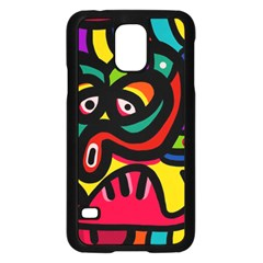 A Seamless Crazy Face Doodle Pattern Samsung Galaxy S5 Case (black)