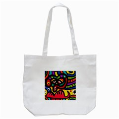 A Seamless Crazy Face Doodle Pattern Tote Bag (white) by Amaryn4rt