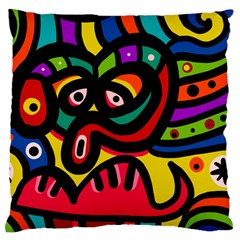 A Seamless Crazy Face Doodle Pattern Large Flano Cushion Case (one Side) by Amaryn4rt