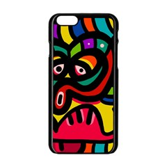 A Seamless Crazy Face Doodle Pattern Apple Iphone 6/6s Black Enamel Case by Amaryn4rt
