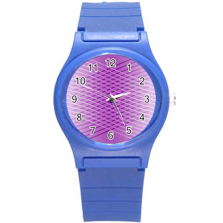 Abstract Lines Background Round Plastic Sport Watch (S)