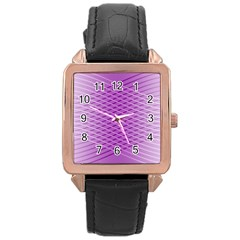 Abstract Lines Background Rose Gold Leather Watch  by Amaryn4rt