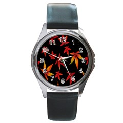 Colorful Autumn Leaves On Black Background Round Metal Watch by Amaryn4rt