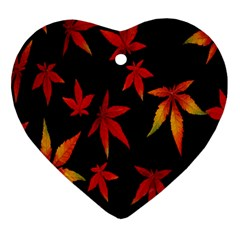 Colorful Autumn Leaves On Black Background Ornament (heart) by Amaryn4rt